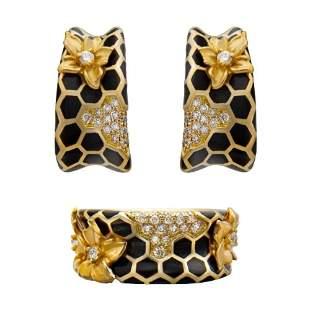 Magerit Set Ring Earrings 18K Gold Diamond Enamel
