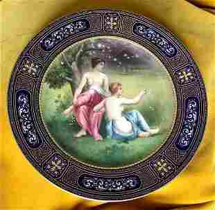 "Antique Large Royal Vienna Austria 9.5"" Plate Two Nudes"