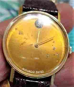 Movado Swiss Diamond 14K Gold Men Watch Windup Working