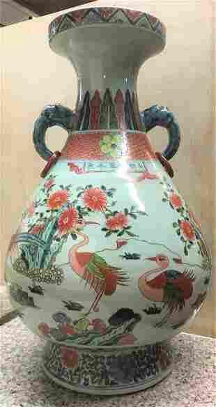 """Antique Chinese KANGXI 22"""" Large Porcelain Vase"""