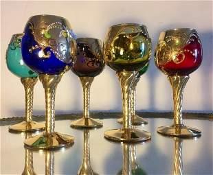 Venetian Murano Raised Floral Cameo 6 Wine Glasses 24k