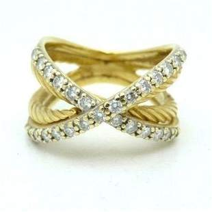 David Yurman X Petite 18K Gold Band Ring With Diamonds