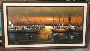 De Marco Large Oil Painting on Canvas Harbor Scene Ship
