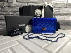 Chanel Boy WOC Blue Quilted Patent Leather Clutch Bag