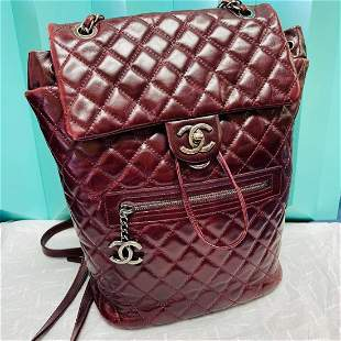Chanel Mountain Backpack Burgundy Quilted Glazed