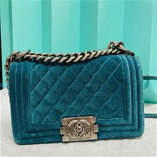 Chanel Boy mini Velvet bag