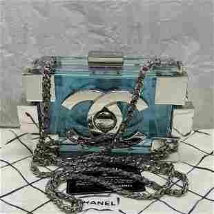 Chanel Plexiglass boy brick lego clutch light blue bag