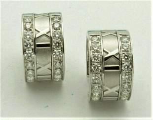 Tiffany & Co ATLAS ROMAN Diamond Gold Hoop Earrings
