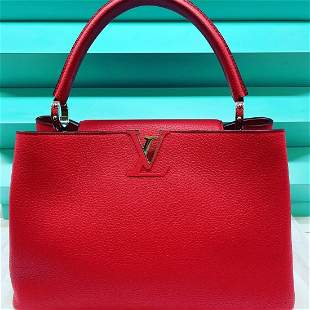 Louis Vuitton capucines red leather bag