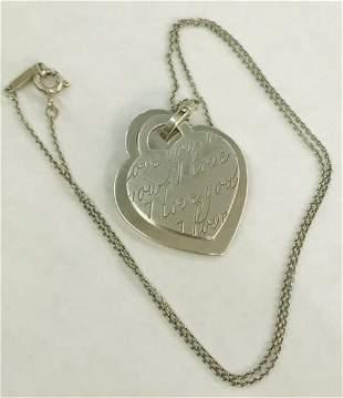 Tiffany & Co I LOVE YOU Heart Charm Pendant Necklace