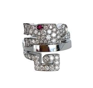 Cartier Le Baiser Du Dragon Ruby Diamond 750 Gold Ring