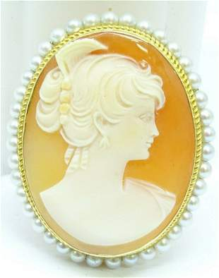 Vintage 14K Yellow Gold & Pearl Cameo Necklace Pendant
