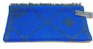 NEW Gianni Versace Royal Blue Black Medusa Scarf