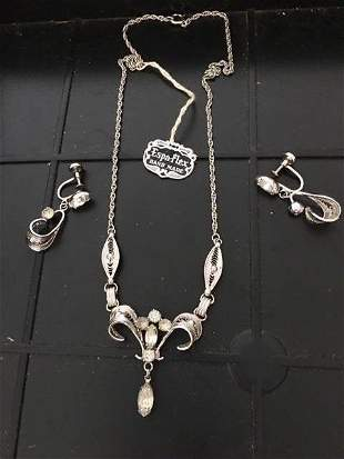 Vintage Espo Sterling Silver Necklace set