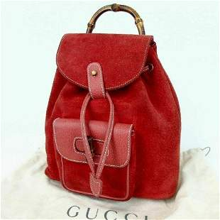GUCCI Bamboo Backpack suede leather red