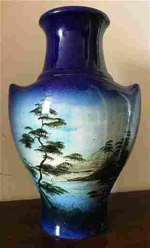 Large Vintage Oriental Ceramic Blue Vase w Mountains