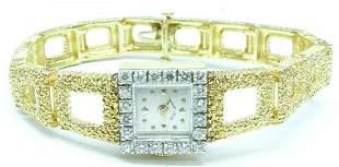 Hamilton 14K Gold and 20 Diamonds 1.4ct Women