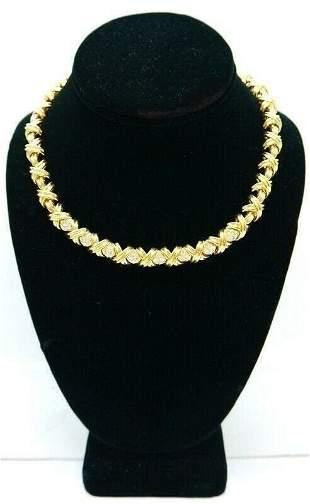 "TIFFANY & CO SIGNATURE DIAMOND ""X"" 18K GOLD NECKLACE"