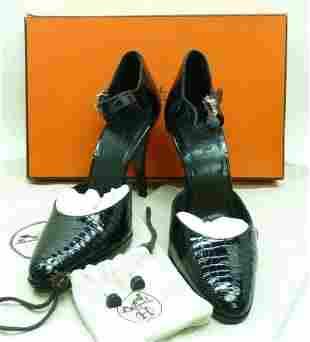 HERMES Crocodile Leather Ankle Strap Pump Heels Shoes