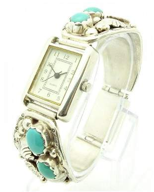 Vintage Navajo Sterling Silver Turquoise Yazzie Watch