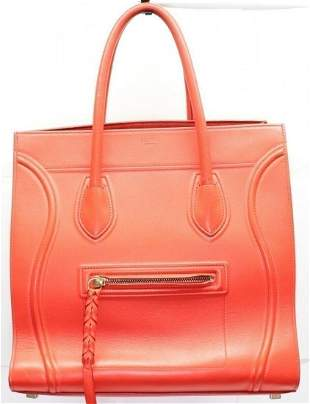 CELINE Luggage Square Phantom Red Leather Tote Bag