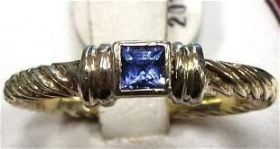 David Yurman Amethyst 14K Gold Stack Eternity Ring