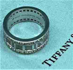Tiffany & Co Atlas Roman 18K White Gold Diamond Ring