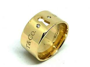 Tiffany & Co NY 18K Gold Diamond Wide Lock Key Ring