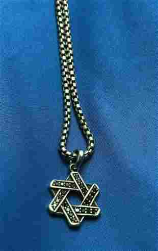 DAVID YURMAN Star of David Black Diamond Necklace
