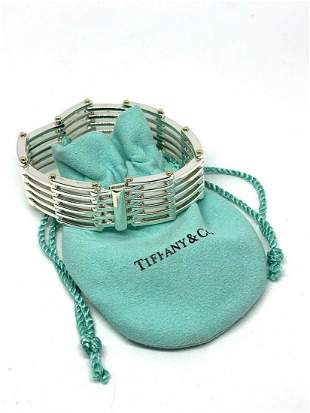 Tiffany & Co Sterling Silver 18k Gold Gate Link Bracele