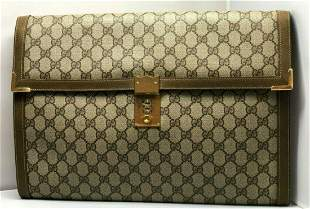 Gucci Vintage Briefcase GG Brown Canvas with Leather