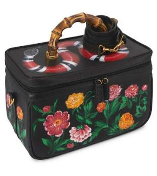 Gucci Leather Hand Painted Bamboo Top Handle Bag