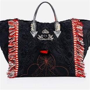 Christian Louboutin Portugaba Black Canvas Leather Bag