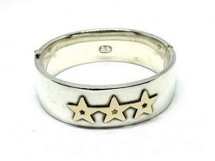 Tiffany & Co Sterling Silver & Gold 3 Star Bracelet