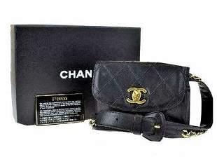 Trendy Chanel Bicolore Waist Bum Bag Purse Pouch Black