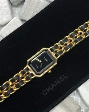 CHANEL Premiere XXL Quartz Chain Band Gold Tone Watch