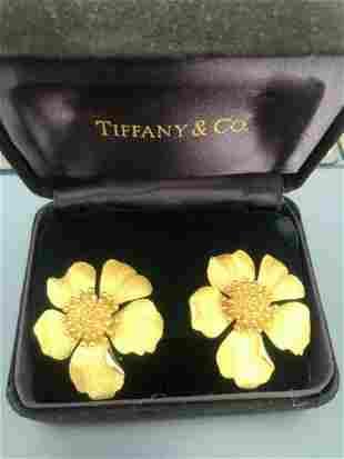 Tiffany & Co 18K Gold Jumbo Flower Earrings