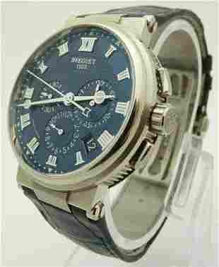 Breguet Marine Chronograph 18k White Gold Mens Watch
