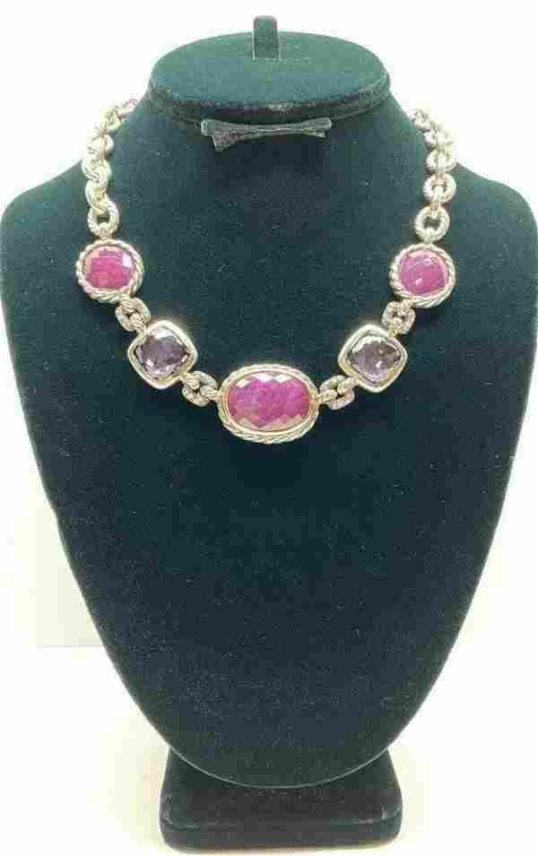 David Yurman Ruby Sapphire Diamond Necklace
