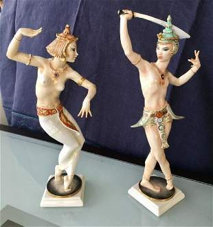 Antique Rare Pair Hutschenreuther Balinese Dancers 20s