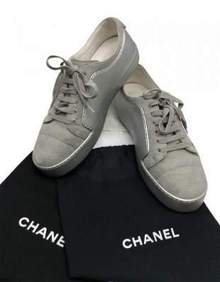 CHANEL Rubber CC Cap Toe Lace Up Sneaker Gray/Silver