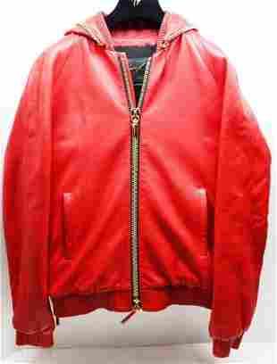 Giuseppe Zanotti Mens Pelle Leather Red Jacket