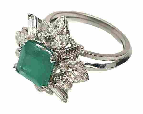 MAYORS Certified Platinum Ring 2.63 Ct Emerald Diamond