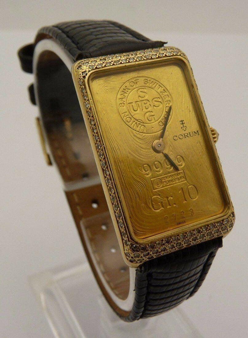 Vintage Corum Diamond 999.9 Gold Bar Watch