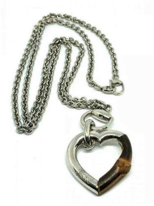 """GUCCI Sterling Silver Bamboo Heart Necklace 30"""""""