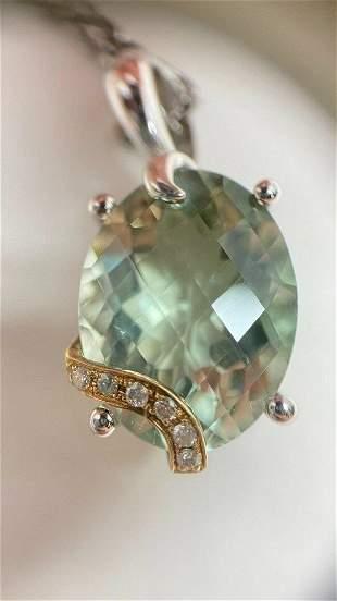 Prasiolite Diamonds 18K Gold Sterling Silver Necklace