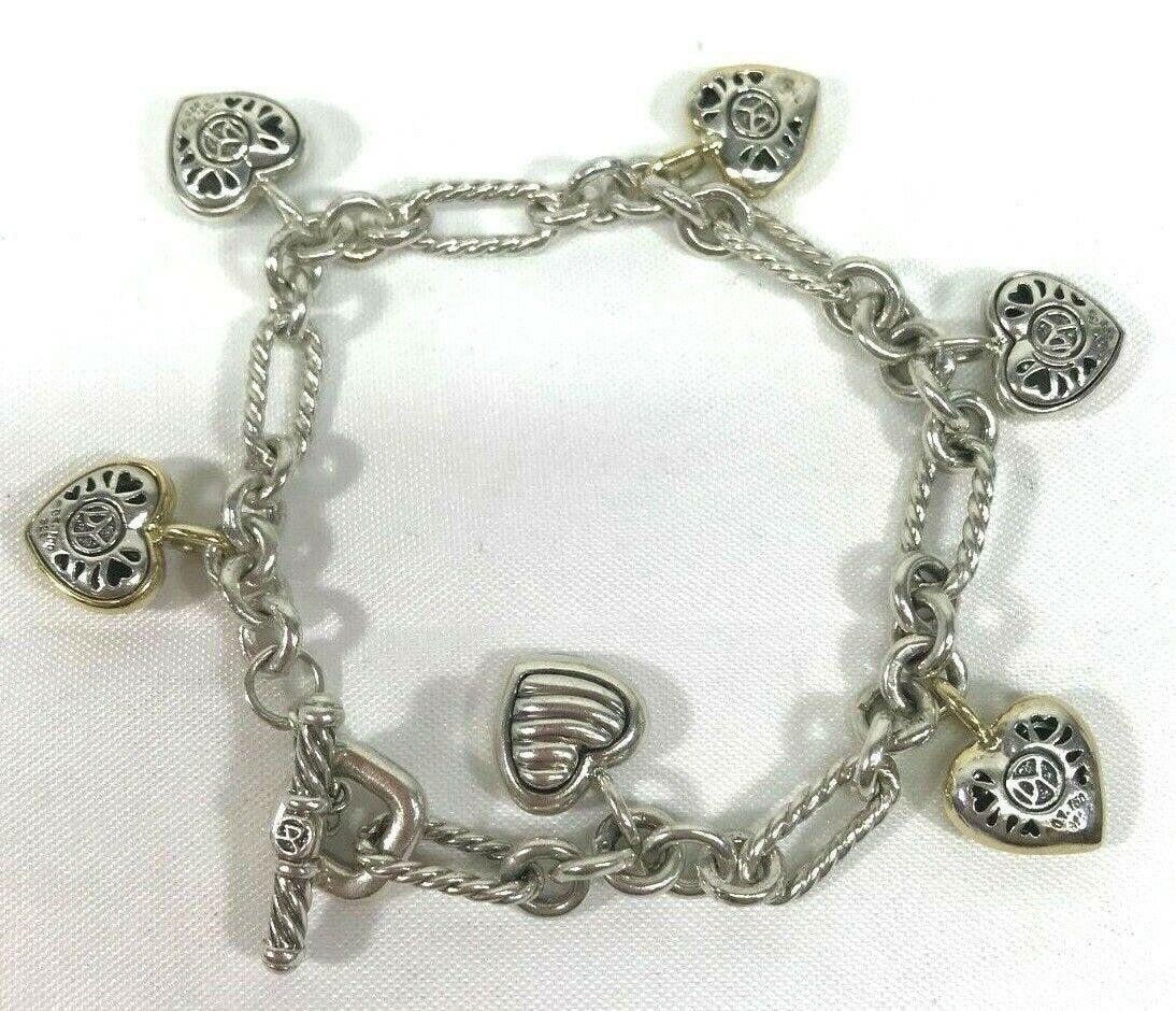David Yurman 18k Gold & Sterling Silver Heart Bracelet