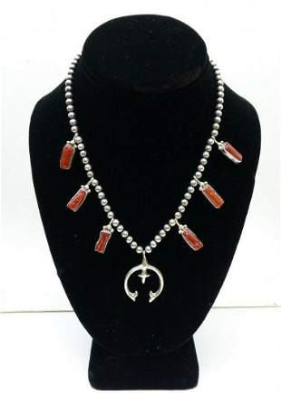 Running Bear Shop Sterling Silver Coral Navajo Necklace