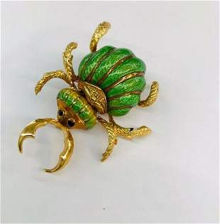 CORLETTO Italian Enameled Gold Horned-Beetle Brooch