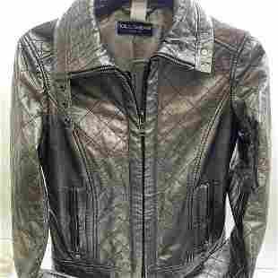 DOLCE & GABBANA Sheepskin Leather Quilted Jacket